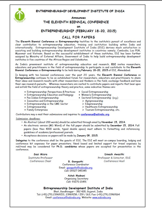Eleventh Biennial Conference at EDI (February 18-20, 2015)