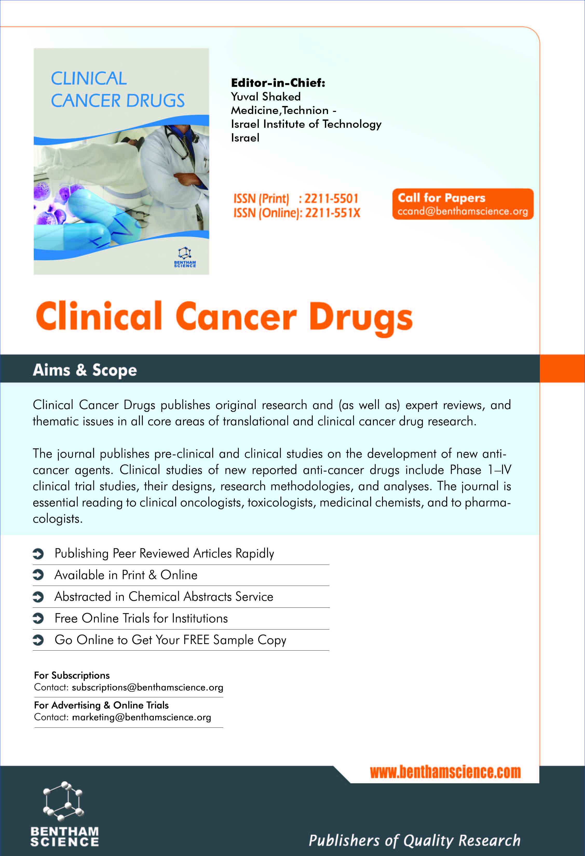 Bentham Science Journal ::: Clinical Cancer Drugs | Bentham