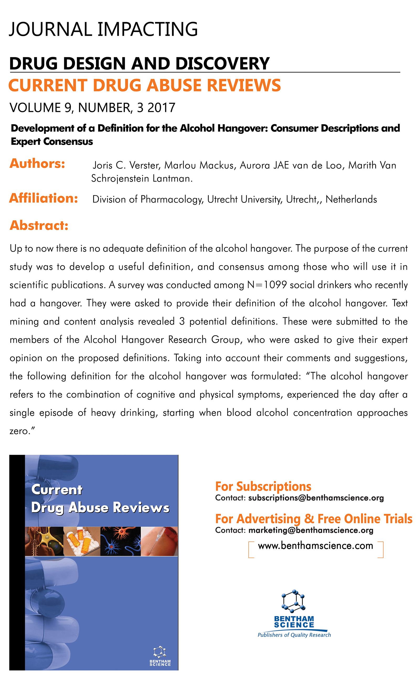 """highlighted article flyer for the journal """"current drug abuse reviews"""" 